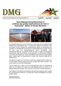 Seine Majestät König Mohammed VI eröffnete den ersten Solarkraftwerk Ouarzazate